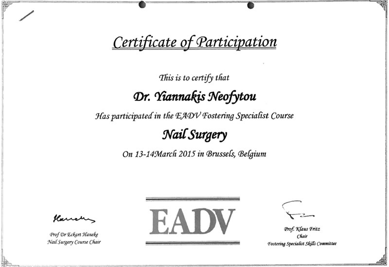 EADV Specialist course on Nail Surgery